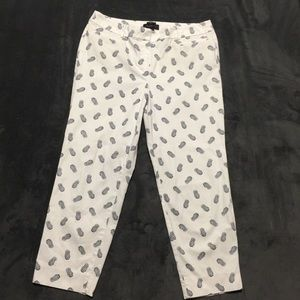Talbots blue and white pineapple pants size 12